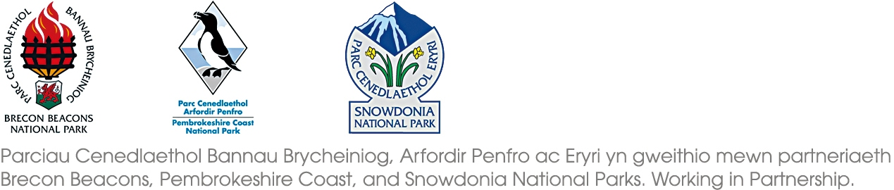 the logos of the Welsh National parks, plus working in partnership message